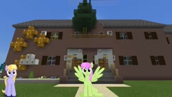 Size: 1334x750 | Tagged: safe, artist:bluemeganium, artist:topsangtheman, cloud kicker, merry may, pegasus, pony, house, looking at you, minecraft