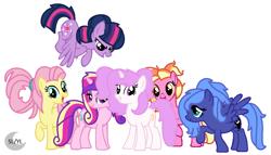 Size: 984x564 | Tagged: safe, artist:princesslunayay, fluttershy, luster dawn, princess cadance, princess celestia, princess luna, twilight sparkle, earth pony, pegasus, pony, unicorn, alternate hairstyle, alternate mane six, alternate universe, base used, celestiaverse, cutie mark, deviantart, female, logo, mare, pegasus luna, pigtails, pink-mane celestia, ponytail, race swap, s1 luna, simple background, unicorn celestia, white background, younger