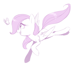 Size: 2803x2460   Tagged: safe, artist:jessy, fluttershy, butterfly, pegasus, pony, cute, female, filly, filly fluttershy, flying, looking at something, mare, monochrome, open mouth, shyabetes, simple background, smiling, solo, spread wings, white background, wings, younger