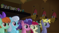 Size: 1920x1080 | Tagged: safe, screencap, berry blend, berry bliss, bon bon, brolly, buddy, cherry berry, citrine spark, coco crusoe, cotton sky, crescent pony, cultivar, fire quacker, huckleberry, lily, lily valley, linky, lyra heartstrings, mane moon, millie, neon lights, peppermint goldylinks, ponet, rising star, roseluck, shoeshine, strawberry scoop, summer meadow, sunshower raindrops, sweetie drops, tender brush, violet twirl, whitewash, winter lotus, written script, pegasus, pony, unicorn, a horse shoe-in, background pony, background pony audience, female, friendship student, male, mare, stallion