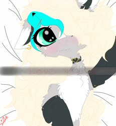 Size: 1200x1299 | Tagged: safe, artist:_wulfie, oc, oc:wulfie, earth pony, pony, blushing, choker, clothes, ear piercing, earring, earth pony oc, female, hair over one eye, jewelry, mare, piercing, selfie, smiling, socks, solo