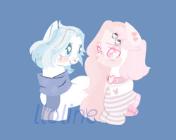 Size: 827x656 | Tagged: safe, artist:lloline, oc, oc only, earth pony, pony, blue background, blushing, bust, clothes, collar, ear piercing, earth pony oc, hairclip, oc x oc, piercing, scarf, shipping, simple background, smiling