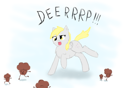 Size: 4092x2893 | Tagged: safe, artist:tomat-in-cup, derpy hooves, pegasus, pony, chest fluff, female, food, mare, muffin, open mouth, raised hoof, running, scared, talking
