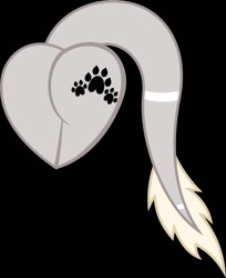 Size: 1054x1291 | Tagged: safe, artist:_wulfie, oc, oc only, earth pony, pony, black background, butt only, earth pony oc, female, heart butt, leonine tail, mare, paw prints, simple background, solo