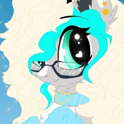 Size: 745x745 | Tagged: safe, artist:_wulfie, oc, oc only, oc:wulfie, earth pony, pony, bust, collar, ear fluff, earth pony oc, female, glasses, heart eyes, mare, smiling, solo, wingding eyes