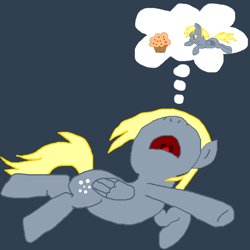 Size: 1000x1000 | Tagged: safe, artist:nopony, derpy hooves, pegasus, pony, atg 2020, dream, female, food, mare, muffin, newbie artist training grounds, open mouth, sleeping, solo