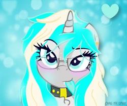 Size: 1095x917 | Tagged: safe, artist:_wulfie, oc, oc only, oc:wulfie, pony, unicorn, bust, collar, ear piercing, female, horn, mare, piercing, smiling, unicorn oc