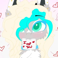 Size: 678x678 | Tagged: safe, artist:_wulfie, oc, oc only, oc:wulfie, earth pony, pony, bust, chest fluff, collar, ear fluff, ear piercing, earth pony oc, female, heart, mare, mouth hold, piercing, smiling