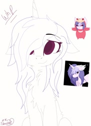 Size: 1200x1650 | Tagged: safe, artist:_wulfie, oc, oc only, pony, unicorn, bust, chest fluff, collar, female, horn, lineart, mare, smiling, unicorn oc, wip