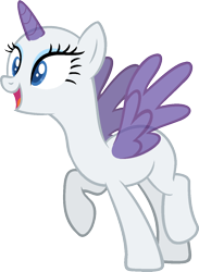 Size: 954x1300 | Tagged: safe, artist:pegasski, rarity, oc, oc only, alicorn, pony, the gift of the maud pie, alicorn oc, bald, base, eyelashes, horn, open mouth, raised hoof, simple background, smiling, solo, spread wings, transparent background, wings