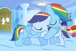 Size: 952x636 | Tagged: safe, artist:hollymau, rainbow dash, oc, oc:star dash, pegasus, female, hug, mother and child, mother and daughter, offspring, parent:rainbow dash, parent:soarin', parents:soarindash, pegasus oc, room, wings