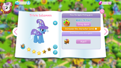 Size: 1136x640 | Tagged: safe, sweetie belle, trixie, pony, unicorn, cape, clothes, female, filly, game screencap, gameloft, hat, mare, stars, trixie's cape, trixie's hat