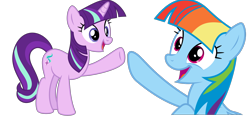 Size: 1294x600 | Tagged: safe, artist:dasprid, artist:melisareb, edit, vector edit, rainbow dash, starlight glimmer, pegasus, pony, unicorn, female, implied twilight sparkle, mane swap, manebow sparkle, mare, not twilight sparkle, open mouth, raised hoof, simple background, smiling, starlight sparkle, transparent background, vector