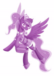 Size: 1000x1386 | Tagged: safe, artist:dstears, princess luna, alicorn, pony, clothes, cute, female, hat, letter, lunabetes, mailmare uniform, mare, monochrome, mouth hold, newbie artist training grounds, purple, shoes, simple background, smiling, solo, that pony sure does love the post office, white background