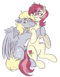 Size: 1800x2300 | Tagged: safe, artist:kikirdcz, derpy hooves, roseluck, earth pony, pegasus, pony, commission, derpyluck, digital art, female, flower, hug, hug from behind, lesbian, rose, shipping, simple background, smiling, transparent background
