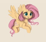 Size: 2308x2126 | Tagged: safe, artist:miokomata, fluttershy, pegasus, pony, blushing, chest fluff, cute, fangs, female, flying, freckles, freckleshy, high res, mare, open mouth, shyabetes, simple background, smiling, solo, spread wings, white background, wings
