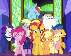 Size: 663x519 | Tagged: safe, screencap, applejack, bulk biceps, derpy hooves, flash sentry, fluttershy, lyra heartstrings, pinkie pie, rainbow dash, rarity, sci-twi, sunset shimmer, twilight sparkle, earth pony, pegasus, pony, unicorn, equestria girls, spring breakdown, cropped, equestria girls ponified, humane five, humane seven, humane six, ponified, smiling, tired, twilight's castle, unicorn sci-twi