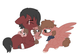 Size: 1296x900 | Tagged: safe, artist:xxtyronendip4everxx, artist:xxwerecatdipperxx, oc, oc only, oc:griffin, oc:tyrone, earth pony, pegasus, bandage, earth pony oc, family, pegasus oc, scar, simple background, transparent background, wings