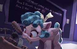 Size: 4000x2550 | Tagged: safe, artist:vanillaghosties, cozy glow, pegasus, pony, atg 2020, bag, bonesaw, chalkboard, chromatic aberration, cozybetes, cute, door, evil, female, filly, hammer, high res, implied murder, implied starlight glimmer, mace, mouth hold, newbie artist training grounds, pure concentrated unfiltered evil of the utmost potency, pure unfiltered evil, saw, sawblade, solo, spiked club, this will end in death, this will end in tears, weapon