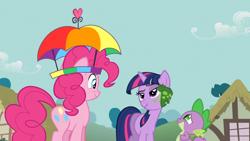 Size: 1920x1080 | Tagged: safe, screencap, pinkie pie, spike, twilight sparkle, dragon, earth pony, frog, pony, unicorn, feeling pinkie keen, faic, hat, ponyville, scrunchy face, umbrella hat, unicorn twilight