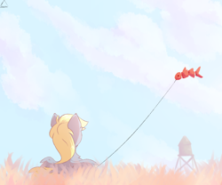 Size: 1800x1500 | Tagged: safe, artist:glazirka, derpy hooves, fish, koi, pegasus, pony, chest fluff, cloud, cute, daaaaaaaaaaaw, derpabetes, facing away, featured image, female, fish kite, from behind, glazirka is trying to murder us, grass, hnnng, kite, mare, relaxing, signature, sky, solo, spread wings, sweet dreams fuel, tower, water tower, weapons-grade cute, wings