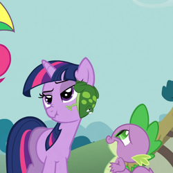 Size: 812x812 | Tagged: safe, screencap, pinkie pie, spike, twilight sparkle, dragon, earth pony, frog, pony, unicorn, feeling pinkie keen, amused, baby dragon, claws, cropped, cute, duo focus, faic, female, male, mare, narrowed eyes, ponyville, raised eyebrow, scrunchy face, smiling, spikabetes, stifling laughter, twilight is not amused, unamused, unicorn twilight