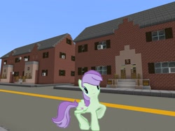 Size: 2048x1536 | Tagged: safe, artist:topsangtheman, violet twirl, pegasus, pony, female, friendship student, gameloft, house, looking at you, mare, minecraft, photoshopped into minecraft, solo