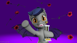 Size: 1280x720 | Tagged: safe, artist:batponyecho, oc, oc only, oc:echo, bat pony, pony, 3d, bat pony oc, bat wings, cheering, delighted, fangs, female, flower, happy, looking at you, love, pleased, rose, smiling at you, solo, source filmmaker, spread wings, trophy, waving, wings