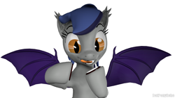 Size: 1280x720 | Tagged: safe, artist:batponyecho, oc, oc only, oc:echo, bat pony, pony, 3d, bat pony oc, bat wings, cookie, fangs, female, food, licking, licking lips, oreo, simple background, solo, source filmmaker, spread wings, tongue out, white background, wings, yummy