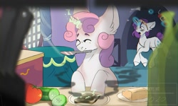 Size: 1500x899 | Tagged: safe, artist:amethesaladhair, rarity, sweetie belle, pony, unicorn, bags under eyes, bread, burnt toast, butter, cooking, cucumber, ear fluff, female, filly, fire extinguisher, food, glowing horn, horn, knife, magic, mare, mouth hold, siblings, sisters, sleep mask, smoke, sweetie belle can't cook, sweetie fail, toast, tomato