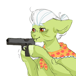 Size: 453x453 | Tagged: safe, artist:amethesaladhair, granny smith, earth pony, pony, gun, juxtaposition bait, meme, ponified meme, simple background, weapon, white background