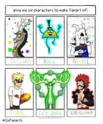 Size: 1024x1223 | Tagged: safe, artist:aleksabg, discord, anthro, draconequus, goat, human, six fanarts, antlers, asriel dreemurr, bill cipher, bowtie, clothes, crossover, dirk strider, eijirou kirishima, gravity falls, hat, homestuck, male, my hero academia, scp foundation, skateboard, sunglasses, top hat, undertale