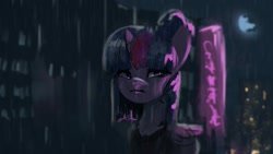 Size: 1920x1080 | Tagged: safe, artist:hierozaki, twilight sparkle, alicorn, pony, crying, female, rain, sad, solo, twilight sparkle (alicorn)