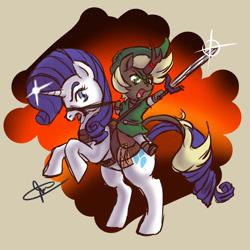 Size: 1000x1000 | Tagged: safe, artist:jbcblanks, rarity, kirin, unicorn, adventure, black, brown, chibi, clothes, cosplay, costume, cute, fight, fun, link, purple, sketch, the legend of zelda, white