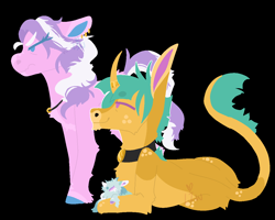 Size: 1250x1000 | Tagged: safe, artist:lepiswerid, diamond tiara, snails, oc, oc:snow pearl, earth pony, pony, unicorn, angry, annoyed, baby, baby pony, black background, collar, father and child, father and daughter, female, freckles, jewelry, looking up, lying down, male, married, married couple, marsverse, messy mane, mother and child, mother and daughter, necklace, parent:diamond tiara, parent:snails, parents:diamondsnail, redesign, scowl, simple background