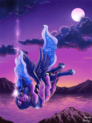 Size: 750x1000 | Tagged: safe, artist:blackkaries, artist:tanukiri, princess luna, twilight sparkle, alicorn, pony, cloud, crown, eyes closed, falling, female, freefall, holding each other, hoof shoes, horn, horns are touching, hug, jewelry, kissing, lesbian, mare, moon, mountain, mountain range, peytral, regalia, scenery, shipping, sparkles, spread wings, starry night, twilight (astronomy), twilight sparkle (alicorn), twiluna, water, wings