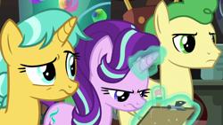 Size: 1920x1080   Tagged: safe, screencap, huckleberry, starlight glimmer, pegasus, unicorn, a horse shoe-in, friendship student