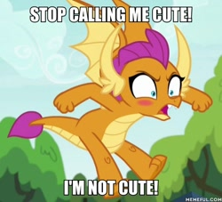 Size: 600x545 | Tagged: safe, edit, edited screencap, screencap, smolder, dragon, uprooted, blatant lies, blushing, caption, cropped, cute, denial's not just a river in egypt, dragoness, female, i'm not cute, image macro, memeful.com, smolderbetes, smoldere, solo, text, tsundere
