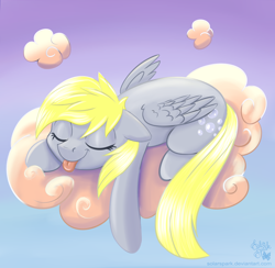 Size: 4100x4000 | Tagged: safe, artist:solarspark, derpy hooves, pegasus, pony, absurd resolution, atg 2020, cloud, eyes closed, female, floppy ears, lying on a cloud, mare, newbie artist training grounds, on a cloud, prone, sky, sleeping, smiling, solo, tongue out
