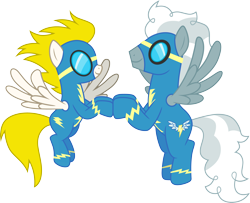 Size: 3694x3000 | Tagged: safe, artist:cloudyglow, silver lining, silver zoom, surprise, pony, clothes, simple background, solo, transparent background, uniform, vector, wonderbolts uniform