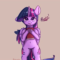 Size: 4000x4000 | Tagged: safe, artist:miokomata, twilight sparkle, alicorn, semi-anthro, absurd resolution, belly button, blushing, book, bookhorse, both cutie marks, chest fluff, colored hooves, cute, dialogue, ear down, featureless crotch, female, floppy ears, human shoulders, looking at you, mare, open mouth, signature, simple background, solo, that pony sure does love books, twiabetes, twilight sparkle (alicorn)