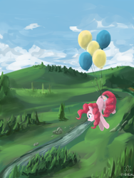 Size: 3000x4000   Tagged: safe, artist:digiral, pinkie pie, pony, balloon, floating, high res, solo, then watch her balloons lift her up to the sky