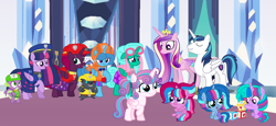 Size: 2340x1080 | Tagged: safe, artist:徐詩珮, fizzlepop berrytwist, glitter drops, grubber, princess cadance, princess flurry heart, shining armor, spike, spring rain, tempest shadow, twilight sparkle, oc, oc:bubble sparkle, oc:nova sparkle, oc:velvet berrytwist, alicorn, bubbleverse, series:sprglitemplight diary, series:sprglitemplight life jacket days, series:springshadowdrops diary, series:springshadowdrops life jacket days, my little pony: the movie, alicornified, alternate universe, bisexual, broken horn, chase (paw patrol), clothes, cousins, cute, female, glitterbetes, glittercorn, glitterlight, glittershadow, horn, lesbian, lifeguard, lifeguard spring rain, magical lesbian spawn, magical threesome spawn, male, marshall (paw patrol), mother and child, mother and daughter, multiple parents, next generation, offspring, parent:glitter drops, parent:spring rain, parent:tempest shadow, parent:twilight sparkle, parents:glittershadow, parents:sprglitemplight, parents:springdrops, parents:springshadow, parents:springshadowdrops, paw patrol, polyamory, prince shining armor, race swap, rocky (paw patrol), rubble (paw patrol), shiningcadance, shipping, siblings, sisters, skye (paw patrol), sprglitemplight, springbetes, springcorn, springdrops, springlight, springshadow, springshadowdrops, straight, tempestbetes, tempesticorn, tempestlight, twilight sparkle (alicorn), zuma (paw patrol)
