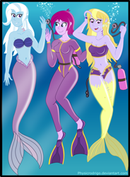 Size: 1900x2580 | Tagged: safe, artist:physicrodrigo, fuchsia blush, lavender lace, trixie, angler fish, fish, human, mermaid, equestria girls, bikini, clothes, gills, mermaidized, scuba, species swap, swimsuit, transformation, trixie and the illusions, underwater, wetsuit