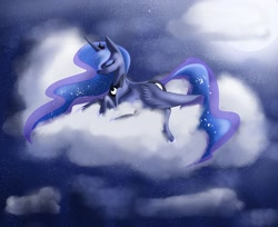 Size: 1600x1308 | Tagged: safe, artist:sorionn, princess luna, alicorn, pony, cloud, eyes closed, female, lying down, lying on a cloud, mare, night, on a cloud, prone, sky, smiling, solo