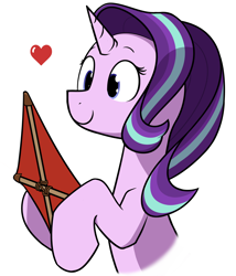 Size: 1200x1400 | Tagged: safe, artist:alexi148, starlight glimmer, pony, unicorn, female, heart, hoof hold, kite, looking at something, mare, simple background, smiling, solo, that pony sure does love kites, white background