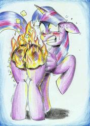 Size: 1652x2320 | Tagged: safe, artist:3500joel, twilight sparkle, alicorn, pony, burned, burned butt, burned butt fetish, butt, butt fire, female, fire, literal butthurt, mare, pain, plot, solo, traditional art, twilight sparkle (alicorn)