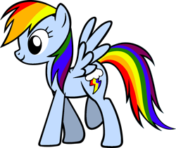 Size: 1200x1011 | Tagged: safe, anonymous artist, rainbow dash, pegasus, pony, rainbow dash presents, alternate cutie mark, alternate design, female, mare, one hoof raised, one leg raised, simple background, smiling, solo, spread wings, transparent background, walking, wings