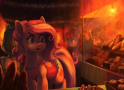 Size: 2943x2137 | Tagged: safe, artist:koviry, oc, oc only, oc:claire, earth pony, pony, unicorn, bread, clothes, commission, food, lightbulb, market
