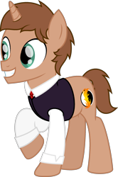 Size: 1542x2323 | Tagged: safe, artist:peternators, oc, oc only, oc:heroic armour, pony, unicorn, clothes, colt, male, school uniform, simple background, smiling, solo, teenager, teeth, transparent background